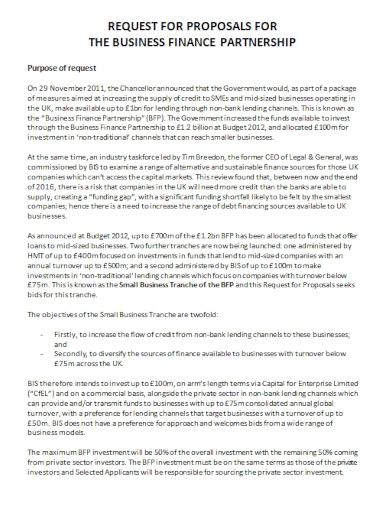 business partnership request for proposal