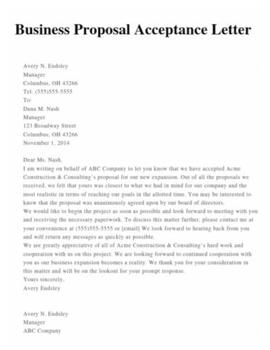 business proposal acceptance letter