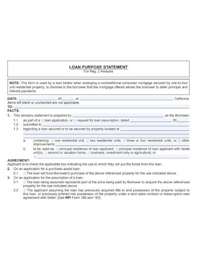 business purpose statement agreement