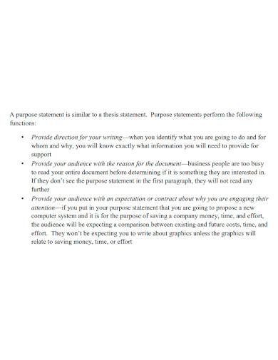 business purpose statement format
