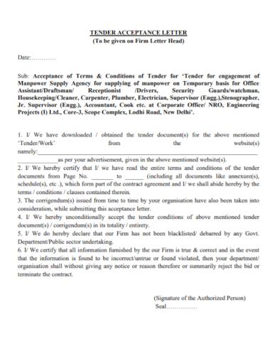 business tender proposal acceptance letter