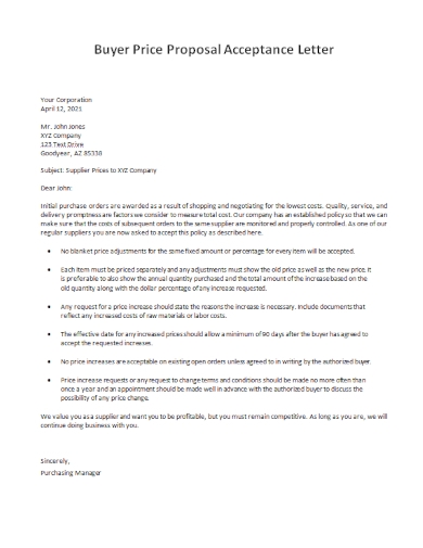 buyer price proposal acceptance letter