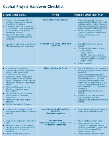 capital project handover checklist