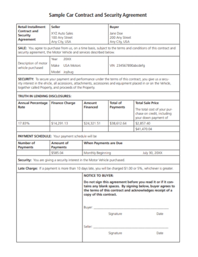 car contract security purchase agreement