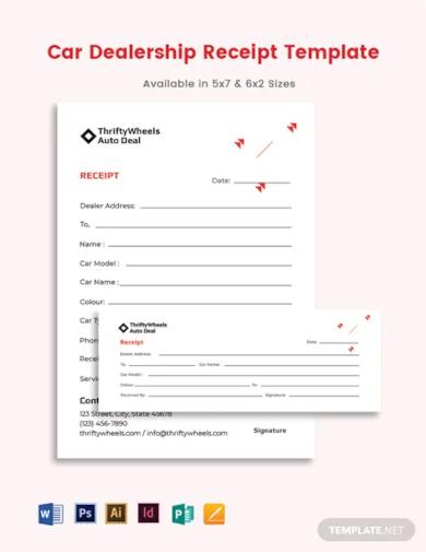 car dealership receipt template