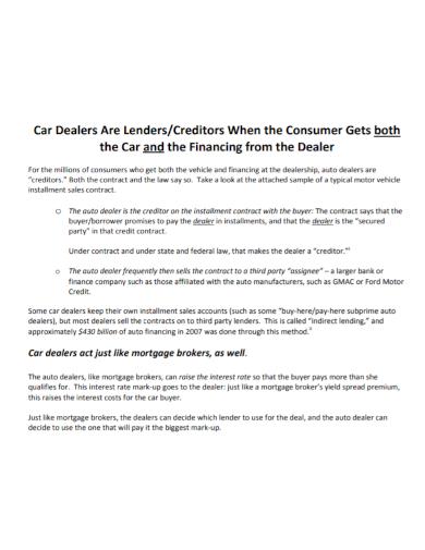 car installment sales contract