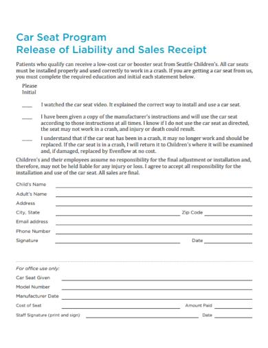 car program liability sales receipt