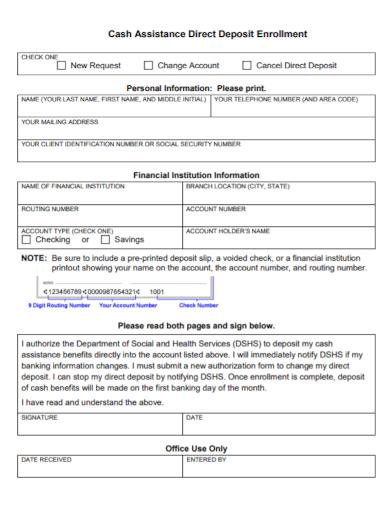 cash stop direct deposit enrollment form