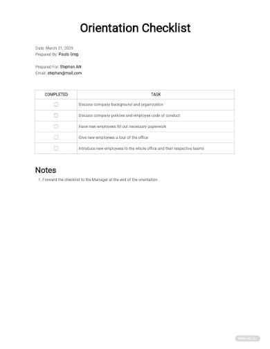 checklist new employee orientation sample
