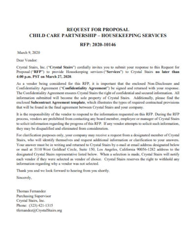 child care partnership request for proposal