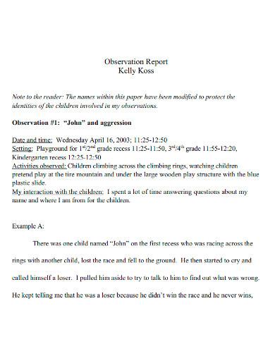 child observation report samples