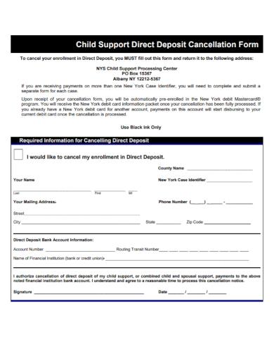 child support direct deposit cancellation form