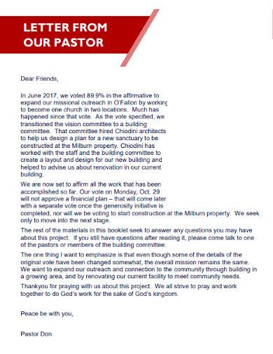church construction proposal letter