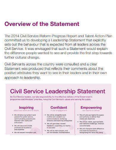 civil service leadership statement