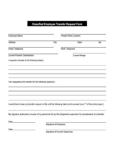 classified employee transfer request