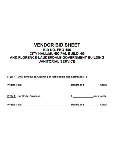 cleaning vendor bid sheet
