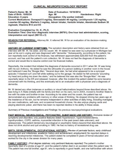 clinical neuropsychological report format