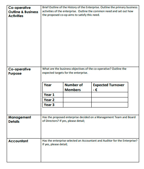 co operative business plan format