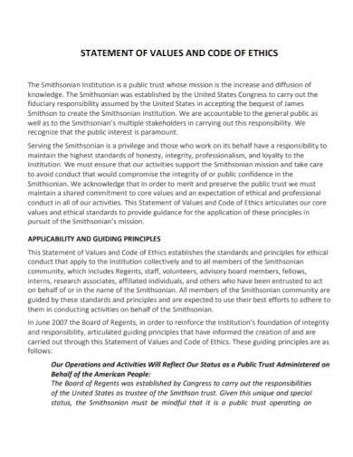 code of ethics statement