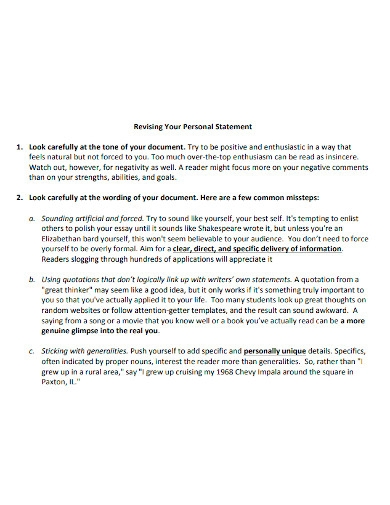 college application personal statement format