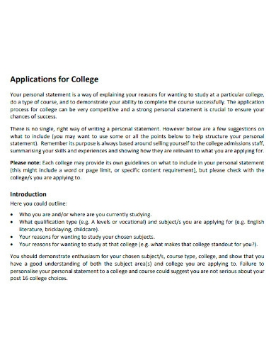 college application personal statement sample