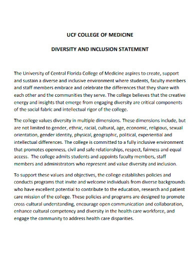college diversity and inclusion statement