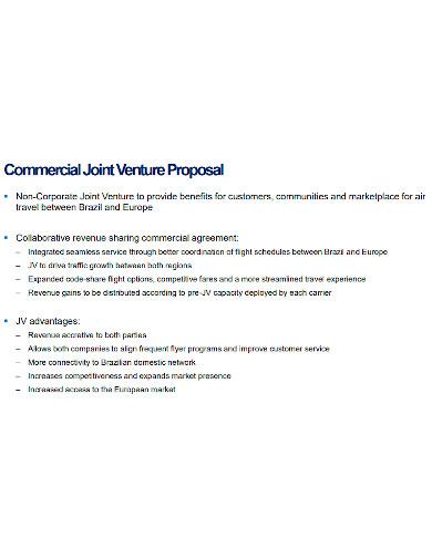 commercial joint venture proposal
