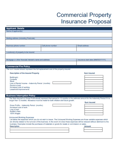 commercial property insurance proposal