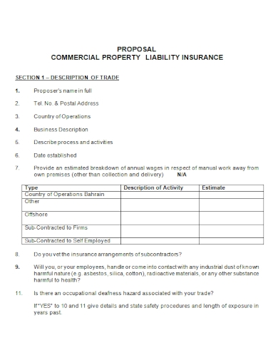 commercial property liability insurance proposal