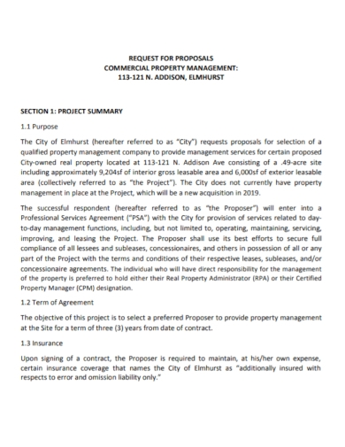 commercial property management request for proposal