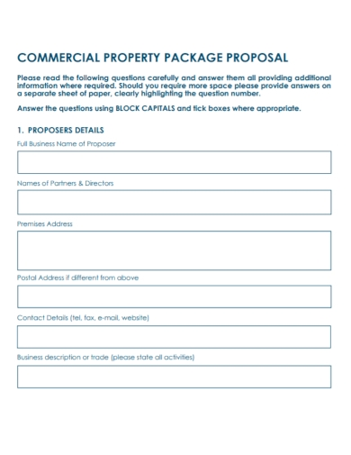 commercial property package proposal