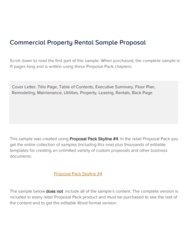 commercial property rental proposal