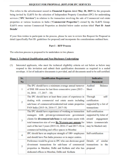 commercial property services request for proposal