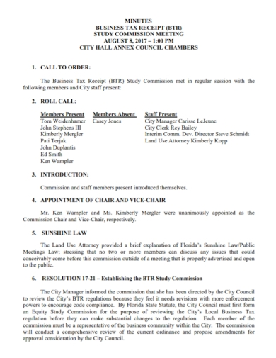 commission meeting business tax receipt