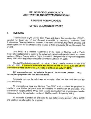 commission office cleaning request for proposal