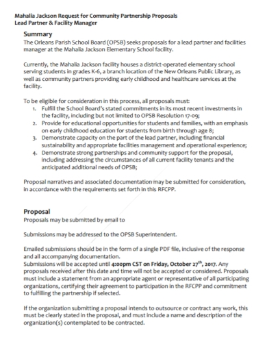community partnership request for proposal