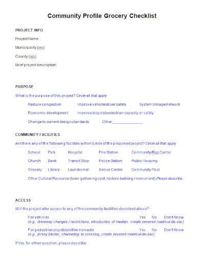 community profile grocery checklist