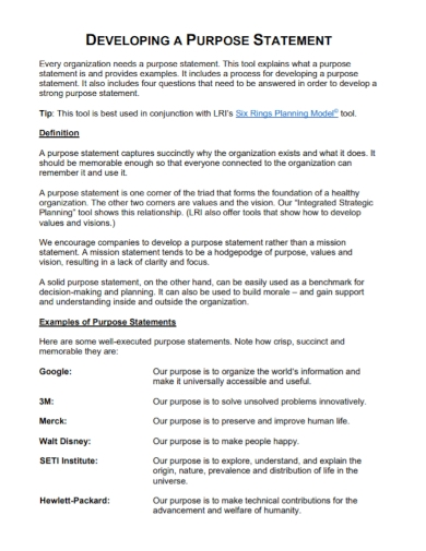 company developing purpose statement