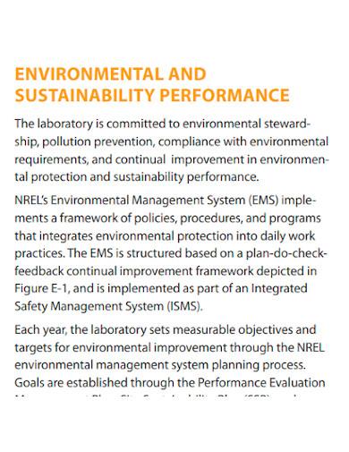 company environment performance report sample