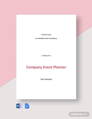 company event planner job description template