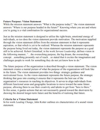 company future purpose vision statement
