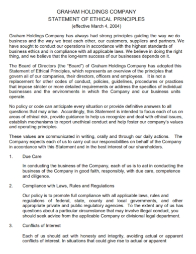 company holdings ethical statement