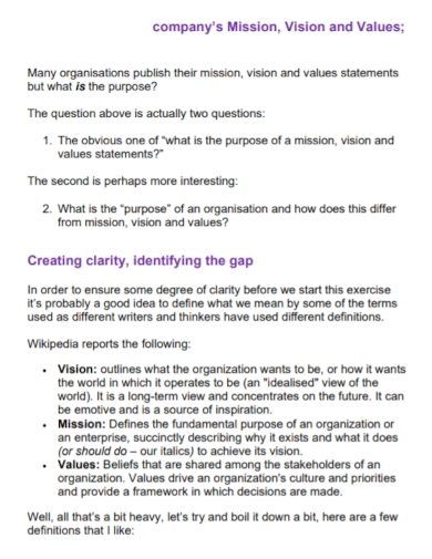 company mission vision purpose statement