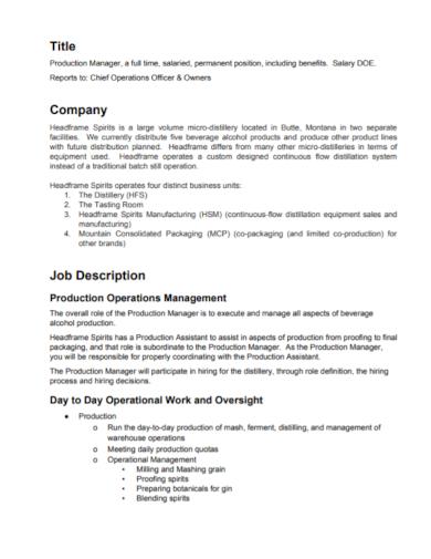 company production job description