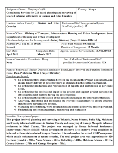 company profile project assignment