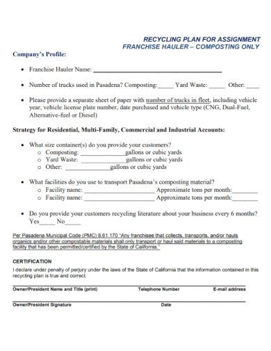company profile recycling plan assignment