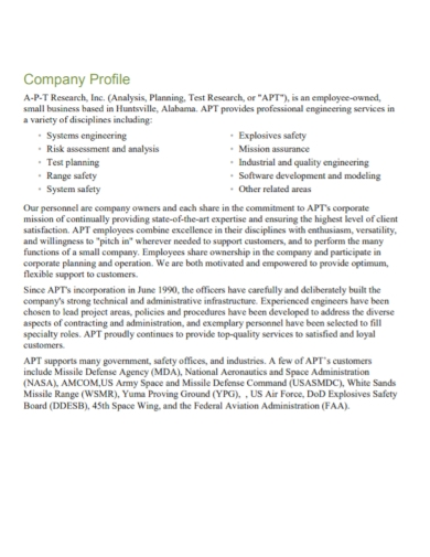 company profile research analysis