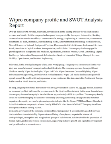 company profile swot analysis report