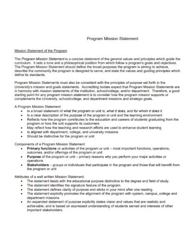 company program mission purpose statement