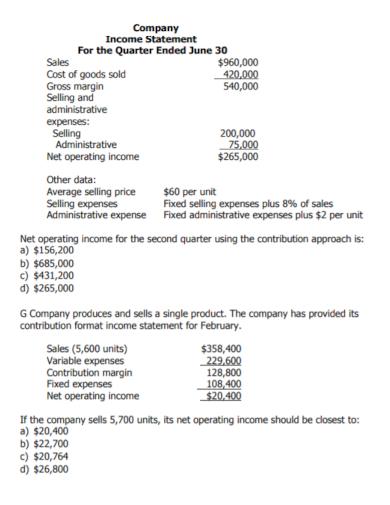 company quarterly income statement
